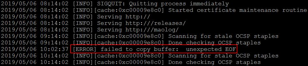 ERROR] failed to copy buffer - Help - Caddy Community
